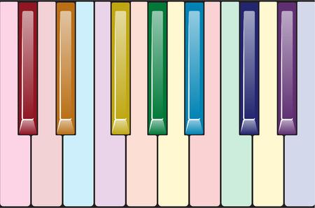 Rainbow piano keyboard Stock Illustratie
