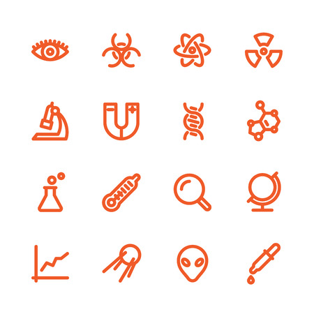 physical chemistry: Fat Line Icon set for web and mobile. Modern minimalistic flat design elements of scientific equipment, biotechnology, genome testing, physical and chemistry materials research Illustration