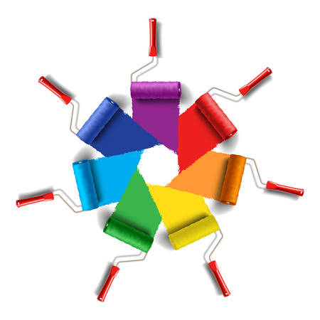 indoors: Roller Brushes with Seven Colors Paint Illustration