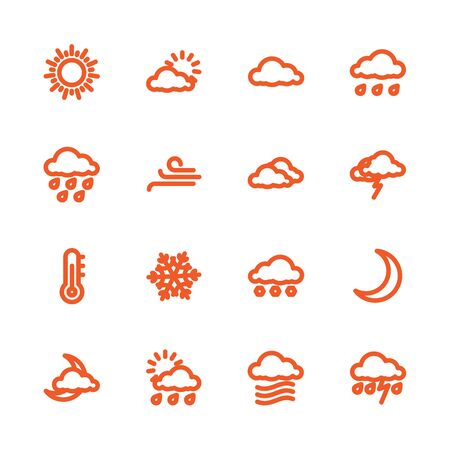 newscast: Fat Line Icon set for web and mobile. Modern minimalistic flat design elements of Weather Forecast