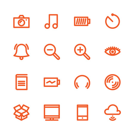 entertaiment: Fat Line Icon set for web and mobile. Modern minimalistic flat design elements of Media Service, Entertaiment and Gadgets Illustration