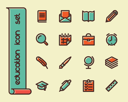 supplies: Fat Line Icon set for web and mobile. Modern minimalistic flat design elements of learning and education, school supplies