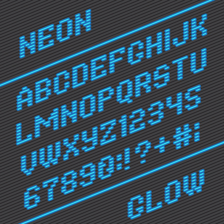 neon glow alphabet: Alphabet font and numbers from neon stripe lines