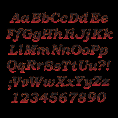 sizzling: Lava font, Sizzling hot alphabet letters and digits with cracks Illustration