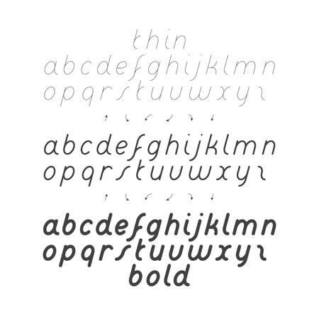 Cursive Small Case Font for written exercise. Three kind of thickness