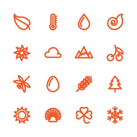 the natural phenomena: Fat Line Icon set for web and mobile. Modern minimalistic flat design elements of natural phenomena and environmental elements