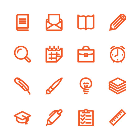 Fat Line Icon set for web and mobile. Modern minimalistic flat design elements of learning and education, school supplies