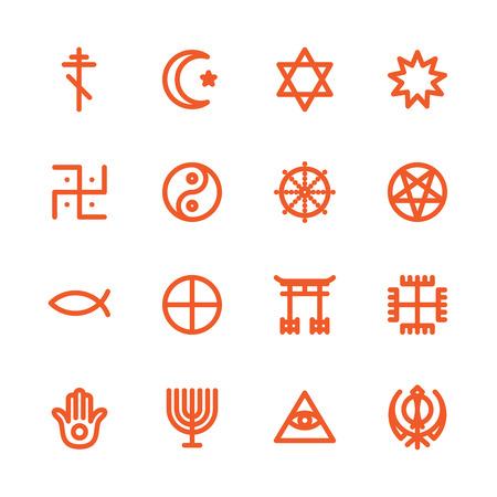 simbolos religiosos: Fat Icono Línea para web y móvil. Elementos de diseño plana minimalistas modernos de símbolos religiosos del mundo Vectores