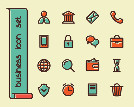 equipment work: Business Fat Line Icon set for web and mobile. Modern minimalistic flat design elements of customer service, client support, success business management, work tools, banking services, office equipment