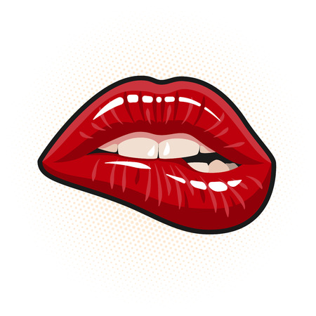 nude pretty girl: Open Mouth with Red Lips Biting Illustration