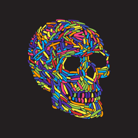 abstract doodle: Abstract Doodle color Worm Skull. Vector Illustration Illustration