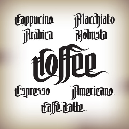 old letter: Coffee Labels Set. Modern Gothic Style Font. Kinds of coffee drinks for menu Illustration