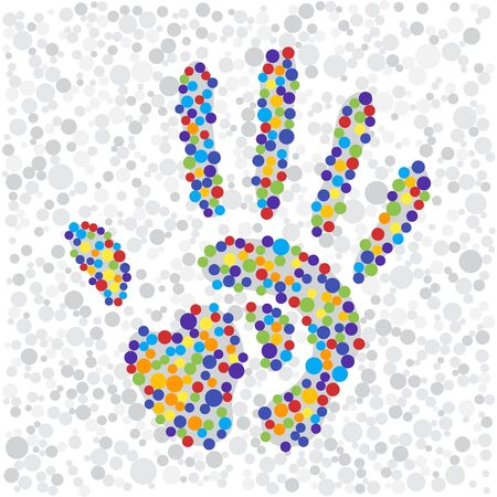 rainbow colors: color points handprint. rainbow colors dots shape of a hand and fingers