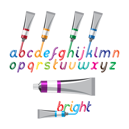 open type font: Color paint font and paint tubes. Liquid glossy bright color letters Illustration