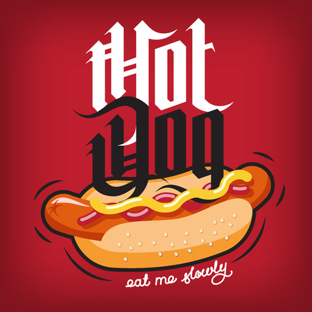 hot announcement: Hot dog sandwich with ketchup and mustard poster. Vector illustration Illustration