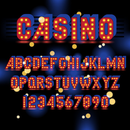 light bulb alphabet. Red letters and numbers with glowing lightbulbs on black background