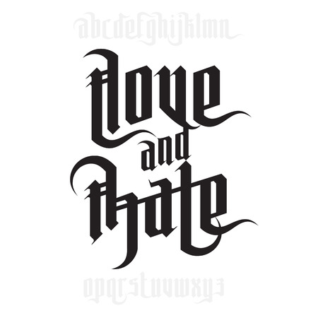 gothic: Love and Hate lettering. Modern Gothic Style Font. Gothic letters with decoration elements