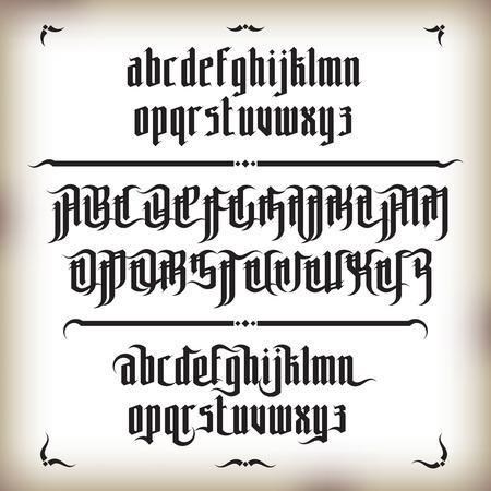 tipos de letras: Moderno estilo de fuente g�tica. Letras g�ticas con elementos de decoraci�n Vectores