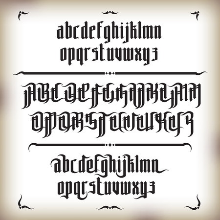 Modern Gothic Style Font. Gothic letters with decoration elements