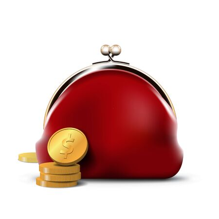 coins: Red Purse with Gold Coins