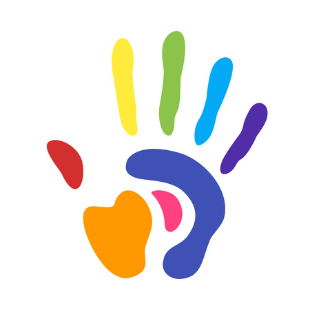 rainbow handprint. rainbow colors of a hand and fingers Çizim