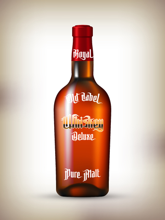 bottles: Whiskey Labels Set. Modern Gothic Style Font. Kinds of whiskey Illustration