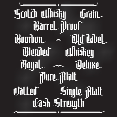 strenght: Whiskey Labels Set. Modern Gothic Style Font. Kinds of whiskey Illustration