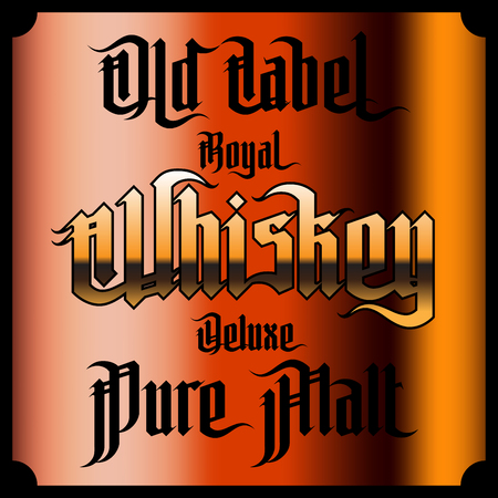 scotch: Whiskey Labels Set. Modern Gothic Style Font. Kinds of whiskey Illustration