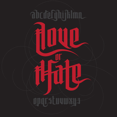 hate: Love and Hate lettering. Modern Gothic Style Font. Gothic letters with decoration elements