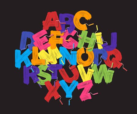 Roller brush alphabet font set. Bright colors paint rollers on black background