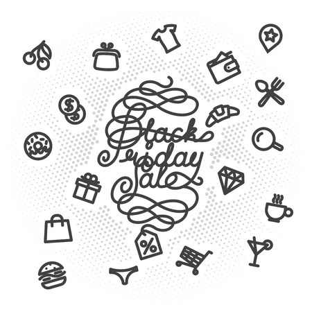 sale icons: Black Friday Sale lettering with shopping icons. letters with decoration elements