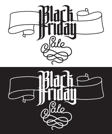 gothic letters: Black Friday Sale. Modern Gothic Style Font. Gothic letters with decoration elements Illustration