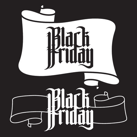 gothic letters: Black Friday. Modern Gothic Style Font. Gothic letters with decoration elements