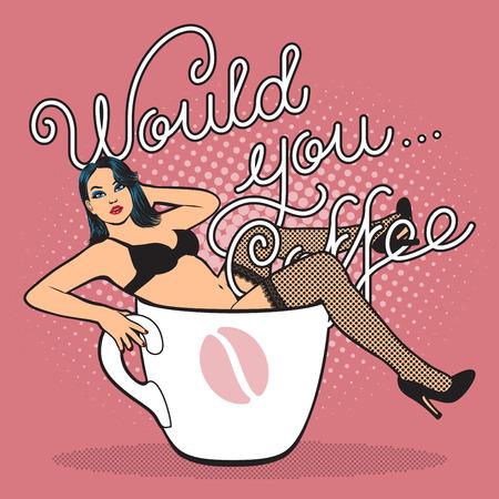chica sexy: taza de café con la muchacha atractiva en el almacenamiento