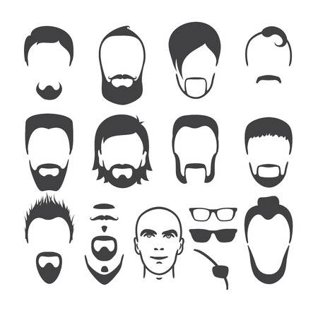 Set of close up different hair, beard and mustache style men portraits isolated vector illustrations