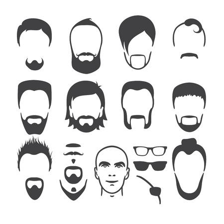 Set van close-up verschillende haren, baard en snor stijl mannen portretten geïsoleerde vector illustraties