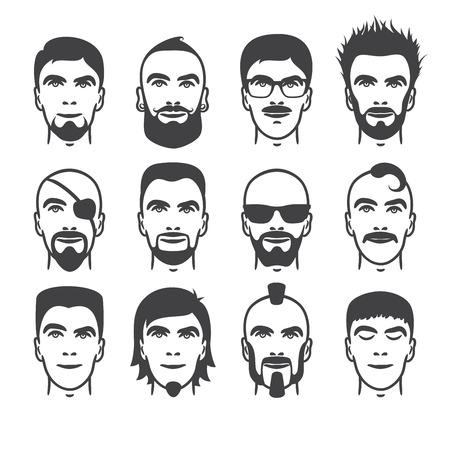 hombres guapos: Conjunto de cierre hasta diferentes pelo, barba y bigote estilo hombres retratos aislados ilustraciones vectoriales