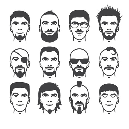 black male: Set of close up different hair, beard and mustache style men portraits isolated vector illustrations