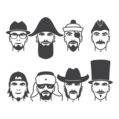 Set of close up different hats, beard and mustache style men portraits. vector illustrations