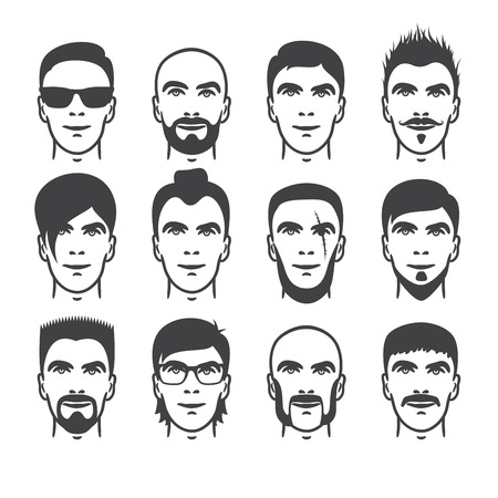 beard man: Set of close up different hair, beard and mustache style men portraits isolated vector illustrations