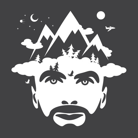 portrait man: Beard men portrait with mountain cloudly hat. vector illustrations
