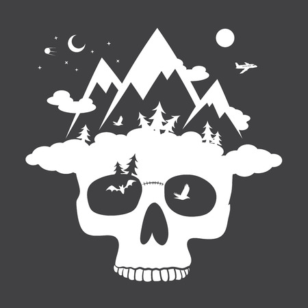 old man portrait: Human skull with mountain cloudly hat. vector illustrations