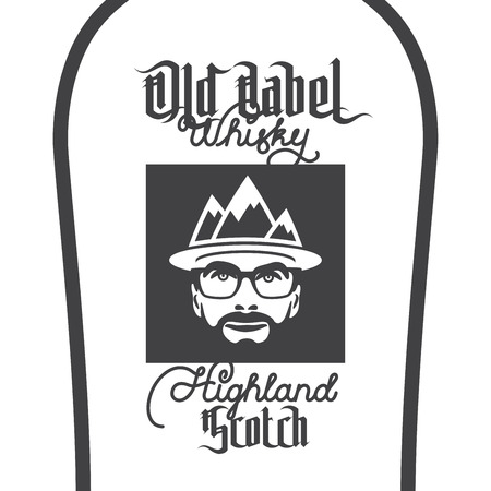 scotch: Old label whisky, highland scotch label with beard men portrait with mountain hat and glasses. vector illustrations Illustration