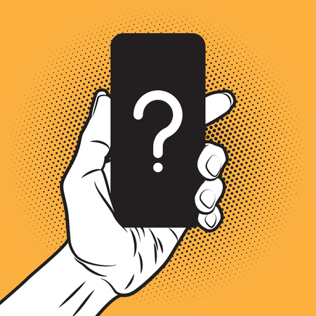 calls: PopArt Style Mokup with unknown Smartphone in Hand Illustration