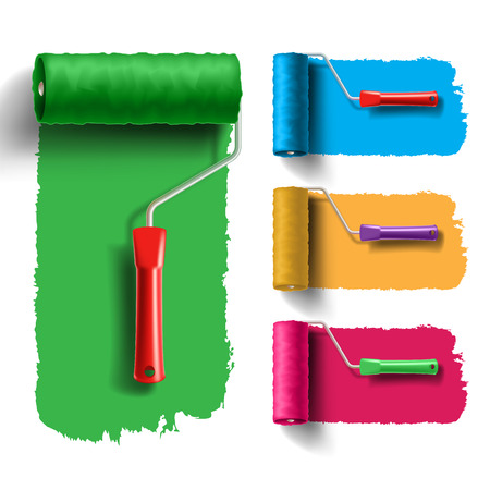 brush paint: roller brush set with color paint track. Creative, decorating and renovation tool