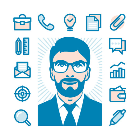 conceptions: Businessman with Fat Line Icon set for web and mobile. Modern minimalistic flat design elements of office supplies, business conceptions, work tools