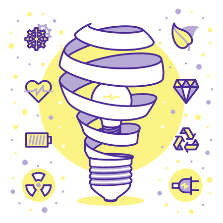 saving: Lightbulb energy concept icons for web and mobile. Modern minimalistic flat design elements of energy saving, power concept, green technology