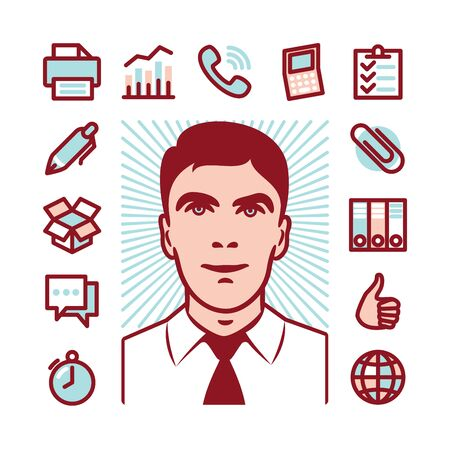 toll free: Manager with Fat Line Icons for web and mobile. Modern minimalistic flat design elements of career manager, office work, analysing and calculating, time nanagement and logistics