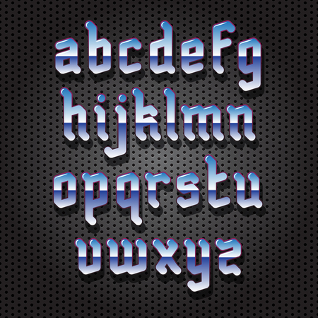 gothic style: Chrome metal Gothic Style Font with shadow on perforated background