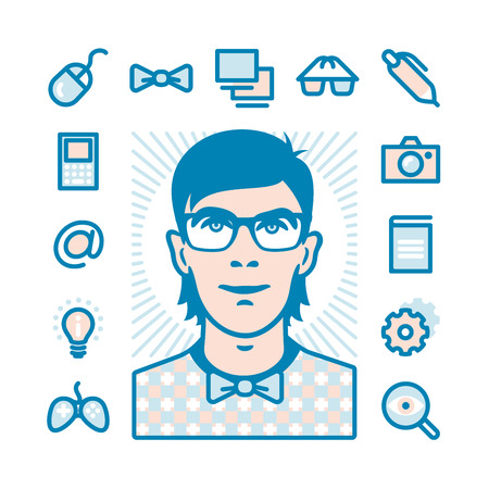 yong: Nerd with Fat Line Icons for web and mobile. Modern minimalistic flat design elements of geeks things and conception of mind shake Illustration
